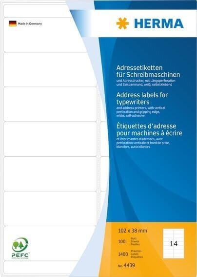 HERMA 4439 Adressetiketten für Schreibmaschinen A4 102x38 mm Papier matt Ecken rund 1400 Stück