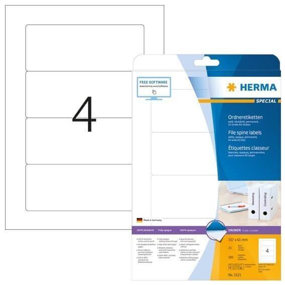 HERMA 5121 Ordneretiketten A4 157x61 mm für A5-Ordner weiß Papier matt blickdicht 100 Stück