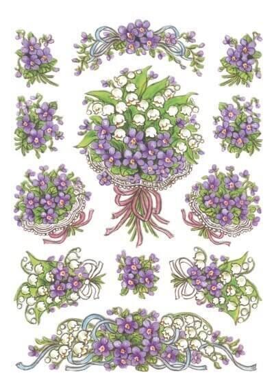 HERMA 3378 10x Sticker DECOR Blumensträuße Veilchen