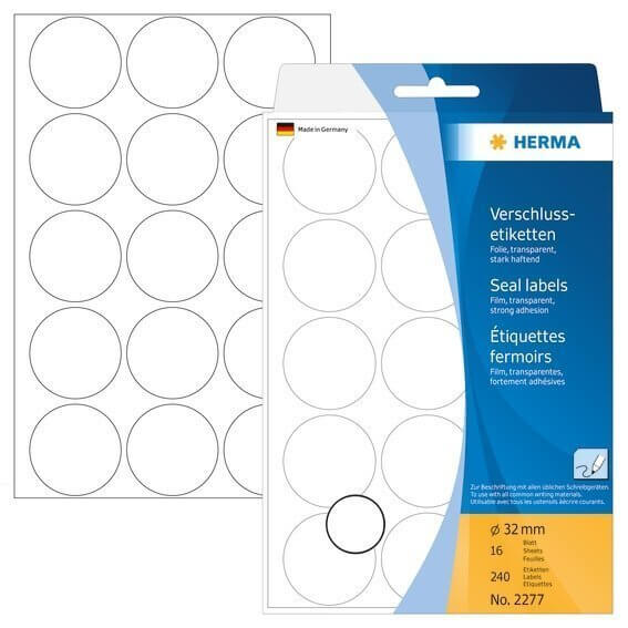 HERMA 2277 Verschlussetiketten Ø 32 mm rund extrem stark haftend Folie matt 240 Stück Transparent