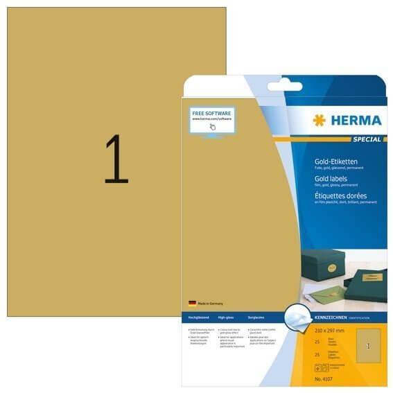HERMA 4107 Etiketten A4 210x297 mm gold Folie glänzend 25 Stück