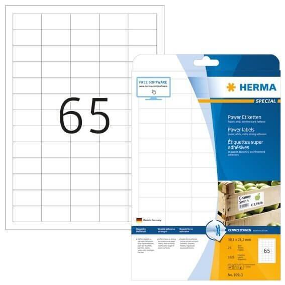 HERMA 10913 Etiketten A4 381x212 mm weiß extrem stark haftend Papier matt 1625 Stück