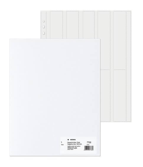 HERMA 7768 Negativhüllen transparent für 10 x 4 Streifen 100 Stück