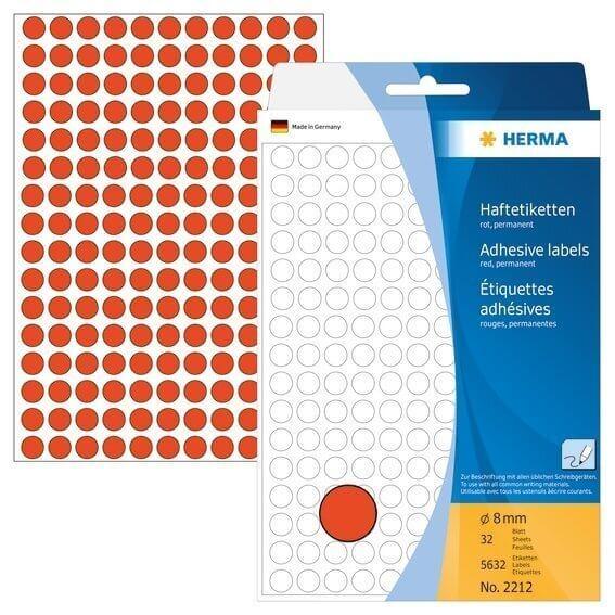 HERMA 2212 Vielzwecketiketten/Farbpunkte Ø 8 mm rund Papier matt Handbeschriftung 5632 Stück Rot