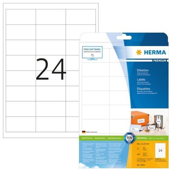 HERMA 5053 Etiketten Premium A4 66x338 mm weiß Papier matt 600 Stück