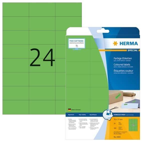 HERMA 4469 Farbige Etiketten A4 70x37 mm grün ablösbar Papier matt 480 Stück