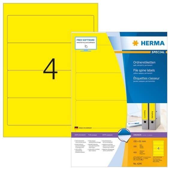 HERMA 4296 Ordneretiketten A4 192x61 mm gelb Papier matt blickdicht 400 Stück