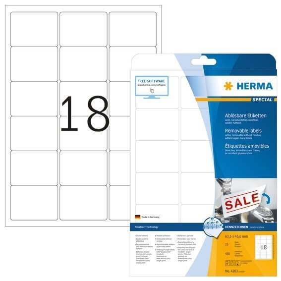 HERMA 4203 Ablösbare Etiketten A4 63,5x46,6 mm weiß Movables/ablösbar Papier matt 450 Stück