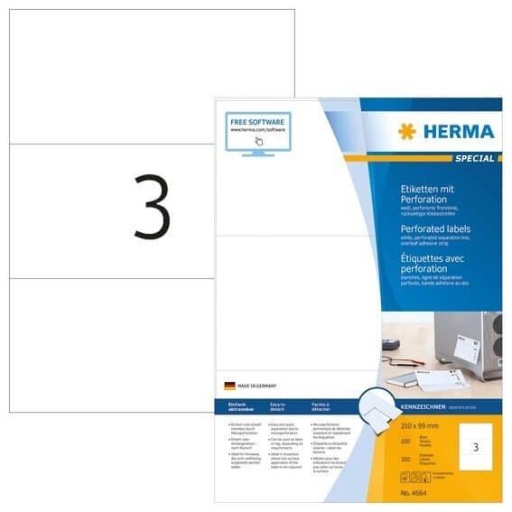 HERMA 4664 Etiketten A4 210x99 mm weiß perforiert Papier matt 300 Stück