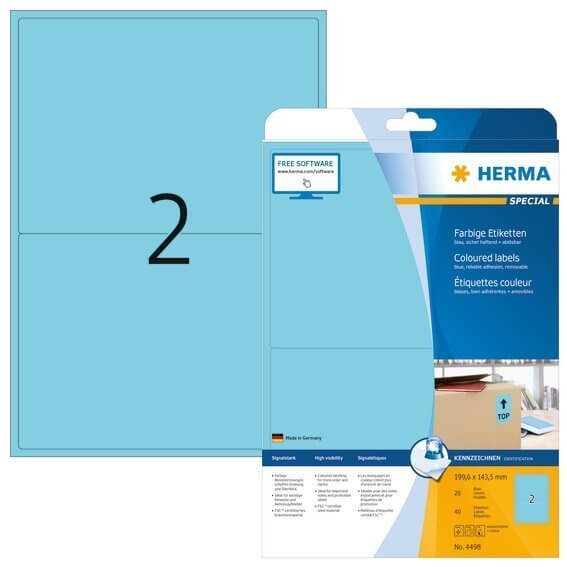HERMA 4498 Farbige Etiketten A4 1996x1435 mm blau ablösbar Papier matt 40 Stück