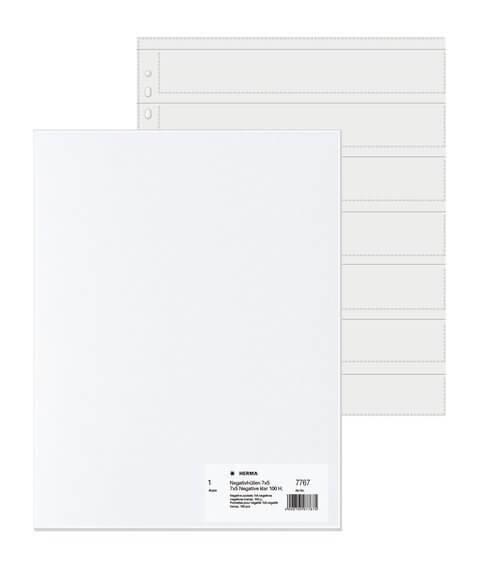 HERMA 7767 Negativhüllen transparent für 7 x 5 Streifen 100 Stück