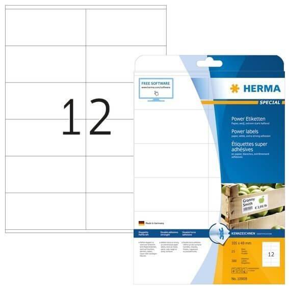 HERMA 10908 Etiketten A4 105x48 mm weiß extrem stark haftend Papier matt 300 Stück