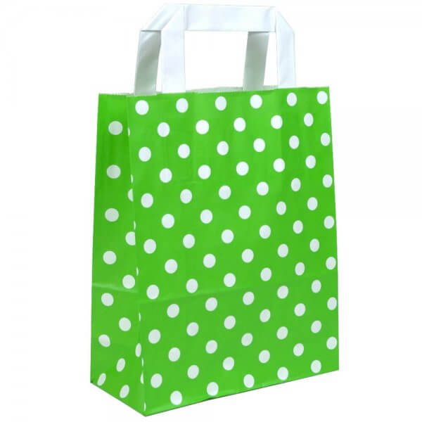 Papiertragetaschen 18 + 08 x 22 Grün gepunktet