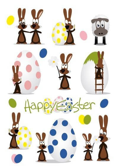 HERMA 1729 10 x Sticker DECOR Happy Easter Hasenparty