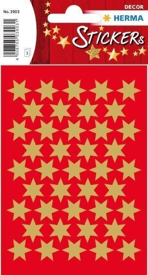 HERMA 3903 10x Sticker DECOR Sterne 6-zackig gold Ø 14 mm