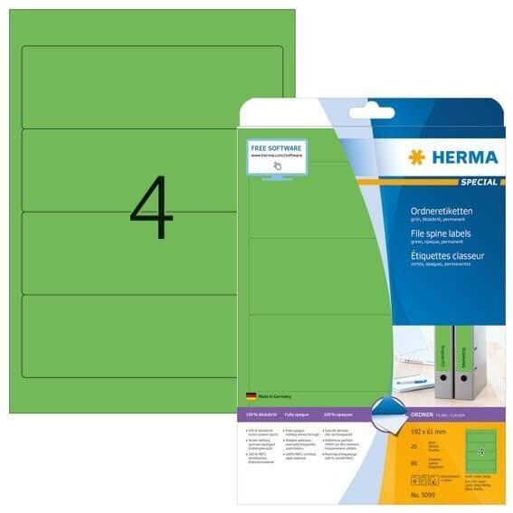 HERMA 5099 Ordneretiketten A4 192x61 mm grün Papier matt blickdicht 80 Stück