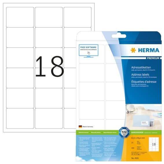 HERMA 4501 Adressetiketten Premium A4 635x466 mm weiß Papier matt 450 Stück