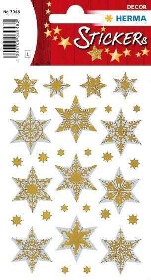 HERMA 3948 10x Sticker DECOR Sterne 6-zackig silber reliefgeprägt