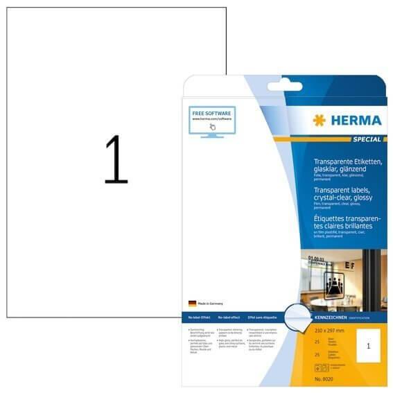 HERMA 8020 Etiketten transparent glasklar A4 210x297 mm transparent klar Folie glänzend 25 Stück