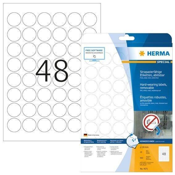 HERMA 4571 Wetterfeste Folien-Etiketten A4 Ø 30 mm ablösbar weiß matt strapazierfähig 960 Stück
