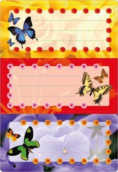 HERMA 5574 10x Schuletiketten Schmetterlinge beglimmert