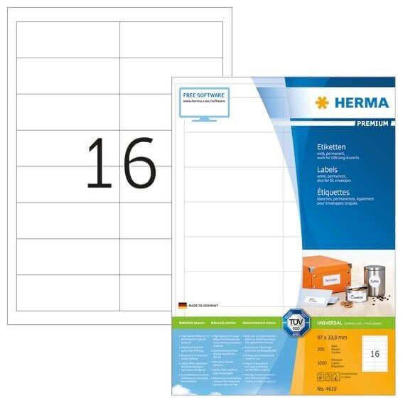 HERMA 4619 Etiketten Premium A4 97x338 mm weiß Papier matt 3200 Stück