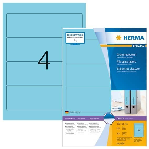 HERMA 4298 Ordneretiketten A4 192x61 mm blau Papier matt blickdicht 400 Stück