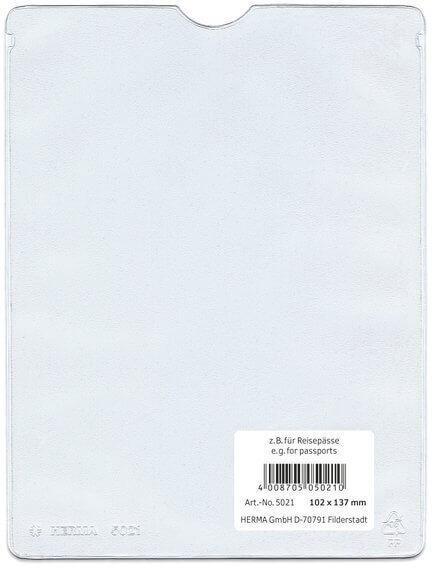 HERMA 5012 25x Ausweishüllen 52x75 mm für Dokumente Format DIN A8