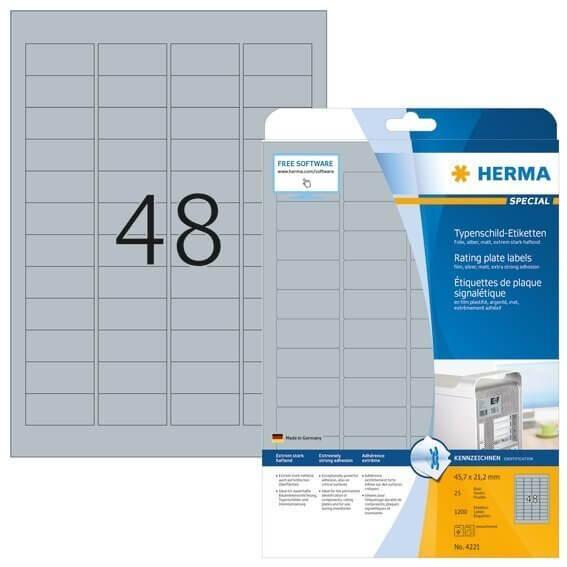 HERMA 4221 Typenschildetiketten A4 45,7x21,2 mm silber extrem stark haftend Folie matt 1200 Stück