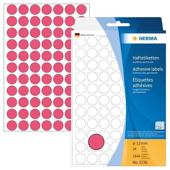 HERMA 2236 Vielzwecketiketten/Farbpunkte Ø 13 mm rund Papier matt Handbeschriftung 1848 Stück Leucht