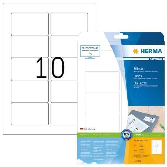 HERMA 5028 Etiketten Premium A4 838x508 mm weiß Papier matt 250 Stück