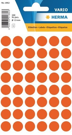 HERMA 1862 Vielzwecketiketten Ø 13 mm rund Papier matt 2400 Stück Rot