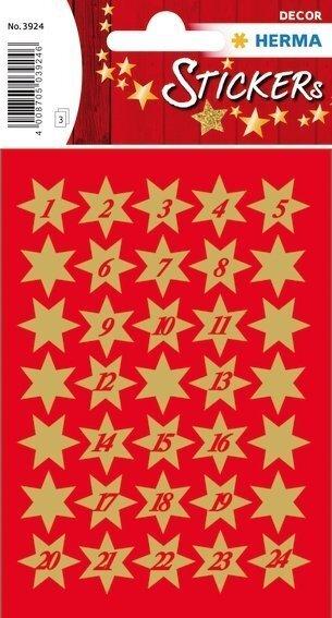 HERMA 3924 10x Sticker DECOR Sterne 6-zackig gold Ø 14 mm 1-24