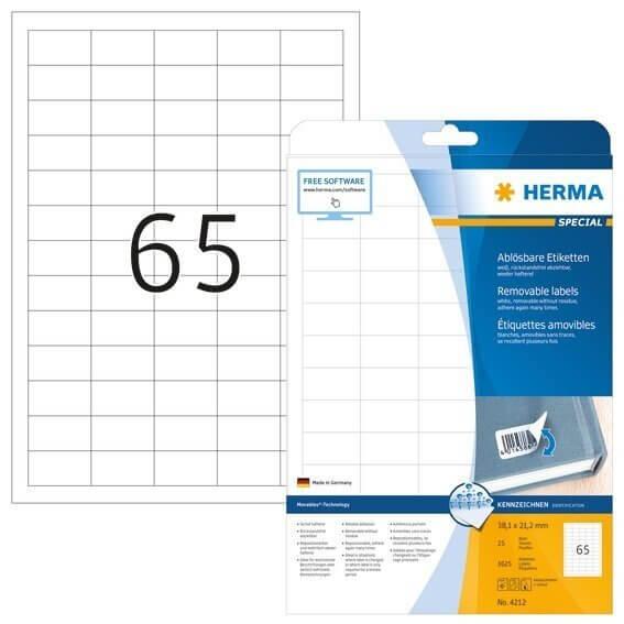 HERMA 4212 Ablösbare Etiketten A4 38,1x21,2 mm weiß Movables/ablösbar Papier matt 1625 Stück