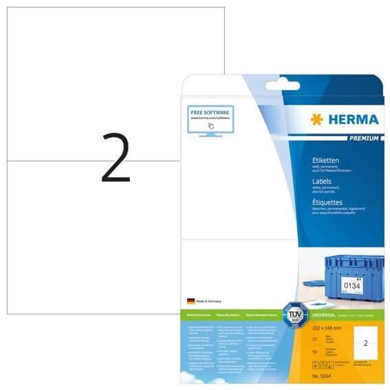 HERMA 5064 Etiketten Premium A4 210x148 mm weiß Papier matt 50 Stück