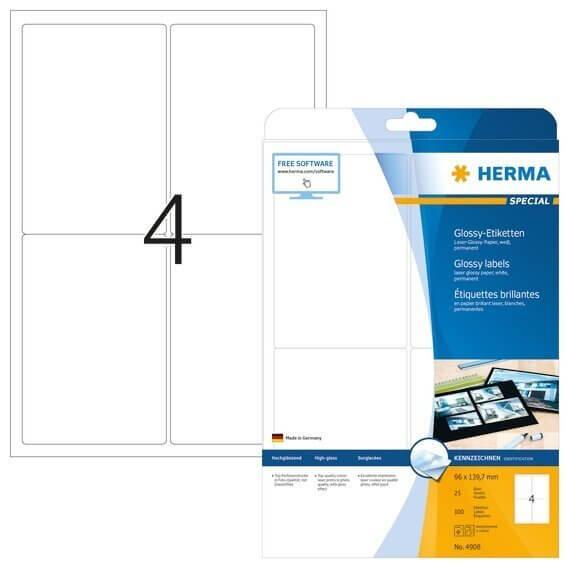 HERMA 4908 Etiketten A4 96x1397 mm weiß Papier glänzend 100 Stück