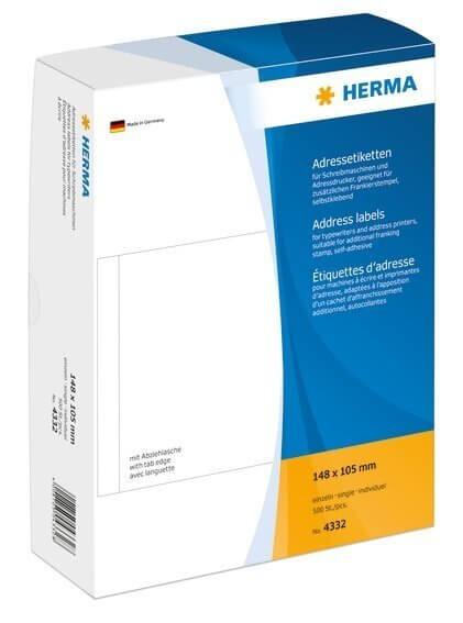 HERMA 4332 Adressetiketten für Schreibmaschinen einzeln 148x105 mm weiß Papier matt 500 Stück