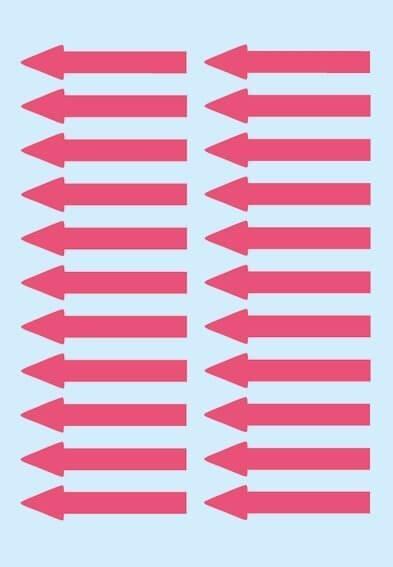HERMA 4143 Hinweisetiketten Pfeile leuchtrot Papier 38x7 mm 880 Stück
