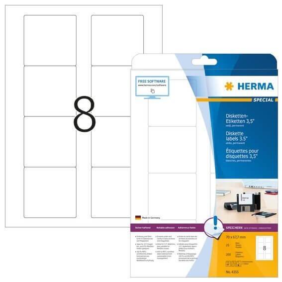 HERMA 4355 Disketten-Etiketten A4 70x677 mm weiß Papier matt 200 Stück