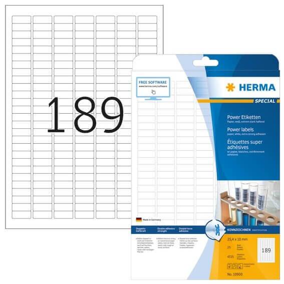HERMA 10900 Etiketten A4 254x10 mm weiß extrem stark haftend Papier matt 4725 Stück