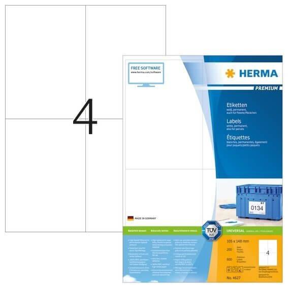 HERMA 4627 Etiketten Premium A4 105x148 mm weiß Papier matt 800 Stück