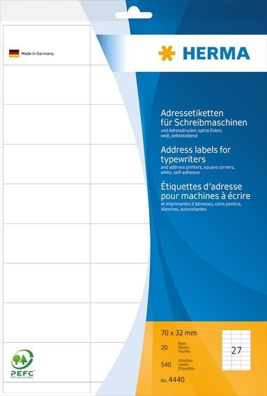 HERMA 4440 Adressetiketten für Schreibmaschinen A4 70x32 mm Papier matt Ecken spitz 540 Stück