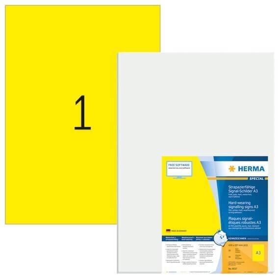 HERMA 8037 Signal-Schilder strapazierfähig A3 297x420 mm gelb stark haftend Folie matt wetterfest 50