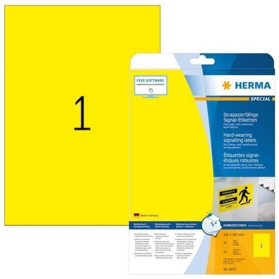 HERMA 8033 Signal-Schilder strapazierfähig A4 210x297 mm gelb stark haftend Folie matt wetterfest 25