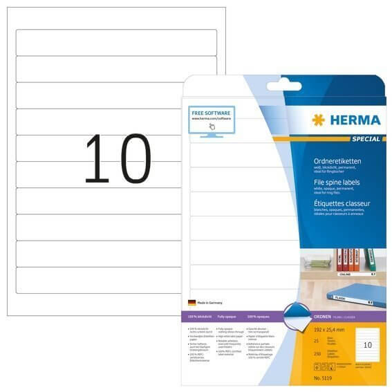 HERMA 5119 Ordneretiketten A4 192x254 mm weiß Papier matt blickdicht 250 Stück