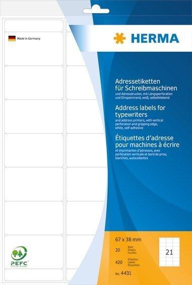 HERMA 4431 Adressetiketten für Schreibmaschinen A4 67x38 mm Papier matt Ecken rund 420 Stück