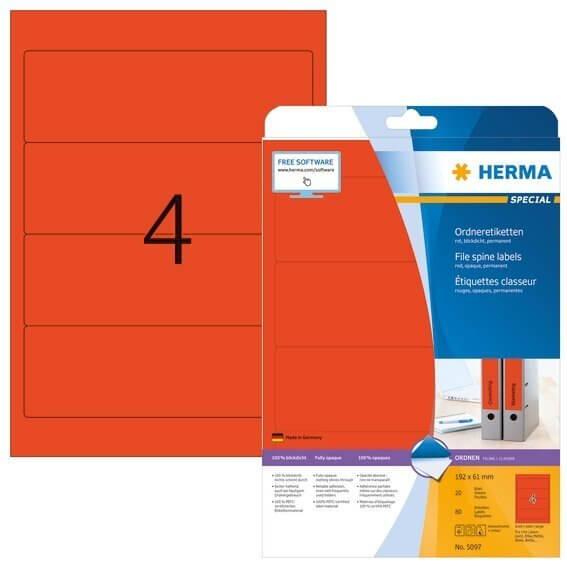 HERMA 5097 Ordneretiketten A4 192x61 mm rot Papier matt blickdicht 80 Stück