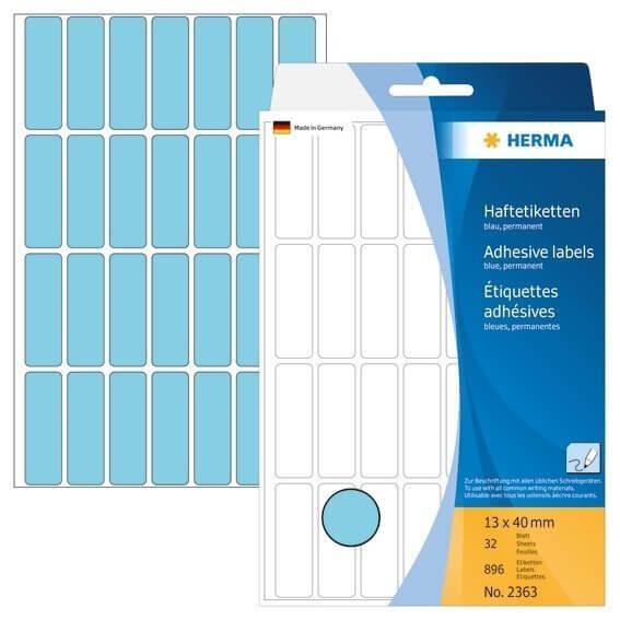HERMA 2363 Vielzwecketiketten 13 x 40 mm Papier matt Handbeschriftung 896 Stück Blau
