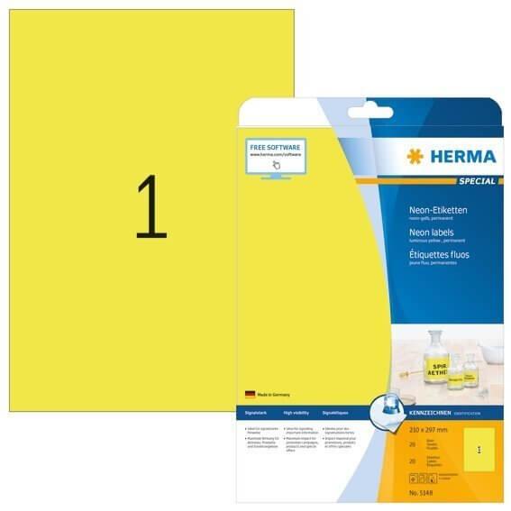 HERMA 5148 Neonetiketten A4 210x297 mm neon-gelb Papier matt 20 Stück