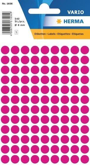 HERMA 1836 Vielzwecketiketten Ø 8 mm rund Papier matt 5400 Stück Pink